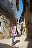 Woman At Ancient Street Stock Photography