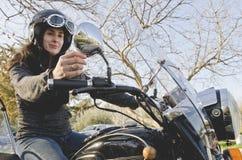 Woman At Mortorcycle Stock Photo