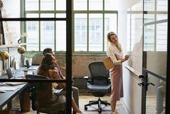 Free Woman At Whiteboard In Team Meeting, Seen Through Open Door Stock Photography - 108974852
