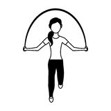 Woman athlete avatar character jump rope Royalty Free Stock Images