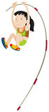 Woman athlete doing pole vault Royalty Free Stock Images
