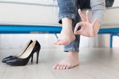 Woman athlete foot Royalty Free Stock Image