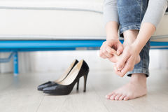 Woman athlete foot Stock Images