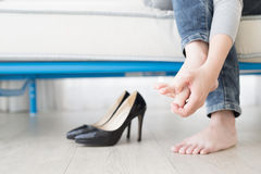 Woman athlete foot Royalty Free Stock Photo
