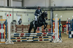 Woman athlete rider horse overcomes obstacles sports complex indoors. Chelyabinsk, Russia - November 22, 2015: woman athlete rider horse overcomes obstacles Royalty Free Stock Photography