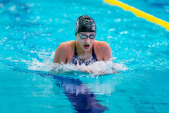 Woman athlete is swimming breaststroke in pool Royalty Free Stock Image