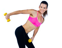 Woman athlete with weights Royalty Free Stock Photo