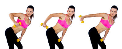 Woman athlete working on triceps muscles Stock Photo