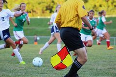Woman Athletes Playing Soccer Stock Images
