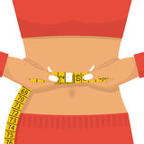 Woman of athletic build measures centimeter of waist. Health body. Good results of correct way of life, diet and sport. Vector illustration flat design Stock Images