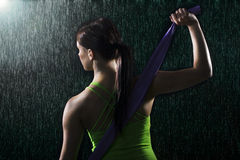 Woman in fitness fashion shoot Stock Images