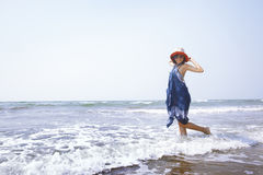 Woman at Atlantic ocean Stock Photos