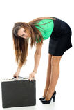 Woman and attache case Royalty Free Stock Photo