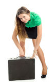 Woman and attache case Stock Photos