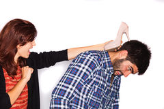 Woman attacking husband Royalty Free Stock Photography
