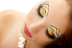 Woman attractive with beautiful make-up Royalty Free Stock Images