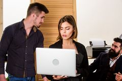 Woman attractive lady working with men colleagues. Office collective concept. Coworkers communicate solving business. Tasks. Working together. Managing process stock photos