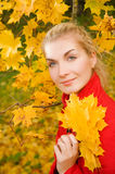 Woman in atumn forest Royalty Free Stock Photo