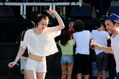 A woman from the audience dance during a concert at FIB (Festival Internacional de Benicassim) 2013 Festival Stock Photos