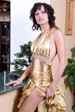 Woman in a aureate dress Royalty Free Stock Photos