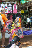 Woman in authentic clothing on the Indian market Royalty Free Stock Photo