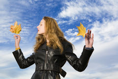 Woman at autumn Stock Images