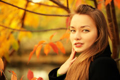 Woman in autumn Stock Photography