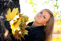 Woman, autumn. Stock Photography