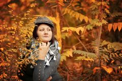The woman in the autumn Stock Photography