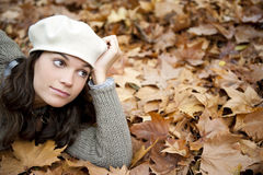 Woman on autumn background Stock Photo