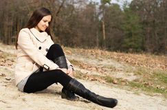 Woman on the autumn beach Stock Photo
