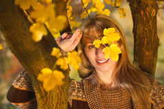 Woman in autumn. Beautiful woman are hidden behind the leaves in autumn stock photo