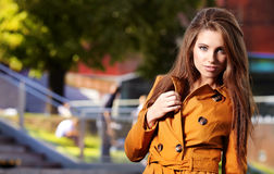 Woman in autumn city. Fashion Woman in autumn city Royalty Free Stock Image