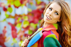 Woman in autumn  city Stock Photo