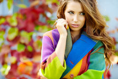 Woman in autumn  city Royalty Free Stock Images