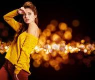 Woman  in autumn color Stock Photos