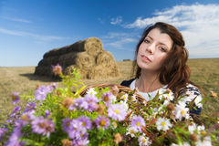 Woman at autumn field Stock Photos