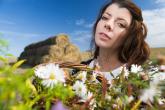Woman at autumn field Royalty Free Stock Photos