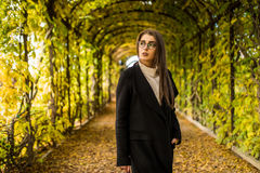 Woman in autumn garden. Young woman in autumn garden Stock Images