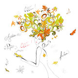 Woman with autumn hair. Universal template for greeting card, web page, background Royalty Free Stock Image