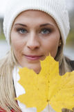 Woman in autumn stock images