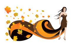 Woman and autumn leaves. Gorgeous woman and autumn leaves. Full editable vector illustration Royalty Free Stock Photography