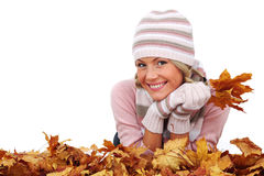 Woman and autumn leaves Royalty Free Stock Image