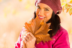 Woman autumn leaves Royalty Free Stock Images