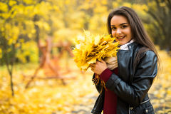 Woman with autumn leaves in hand and fall yellow maple garden background Royalty Free Stock Image