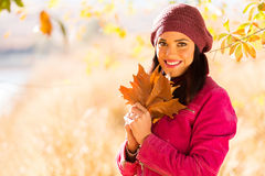 Woman autumn leaves Stock Photo