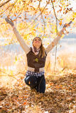 Woman autumn leaves Royalty Free Stock Image