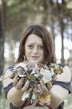 Woman with autumn leaves. Woman autumn leaves in park with trees, nature royalty free stock photos