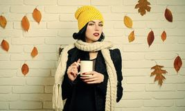 Woman with autumn leaves in scarf and hat. Fashion model with red lips makeup at brick wall. Girl with milk or hot wine in tea cup. Beauty and fall fashion royalty free stock images
