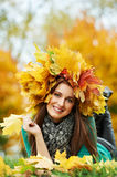 Woman at autumn outdoors Royalty Free Stock Photos